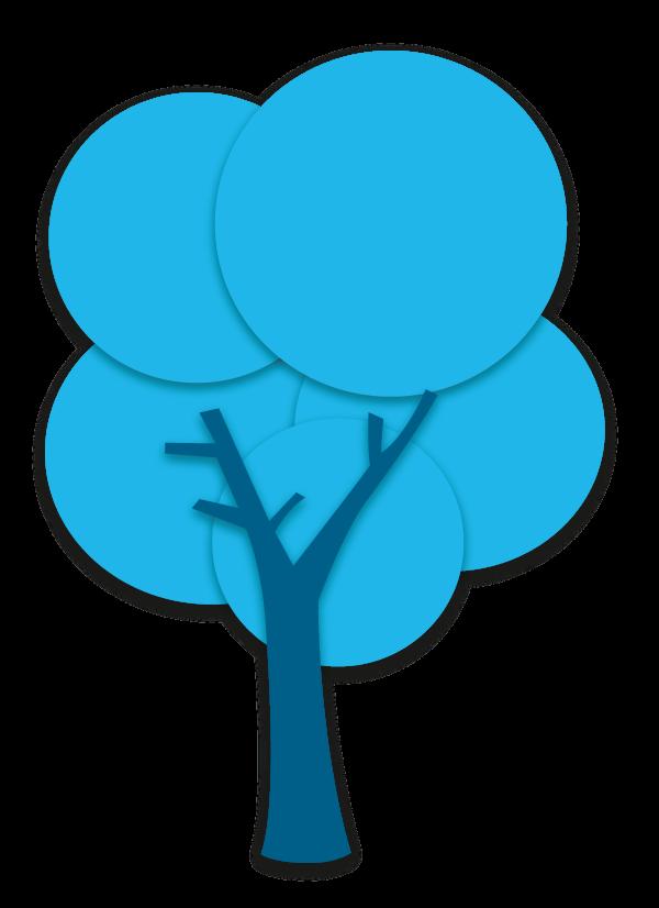 Baum mittleres blau