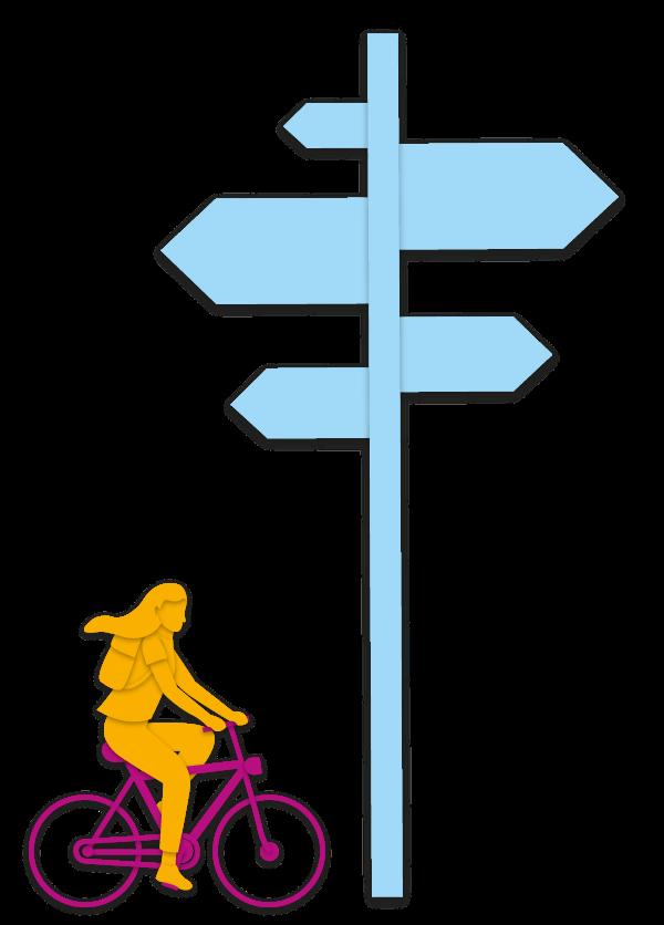 Frau auf dem Fahrrad neben einem Schild