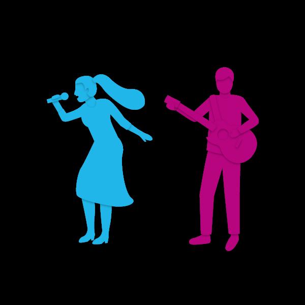 Zwei singende Personen
