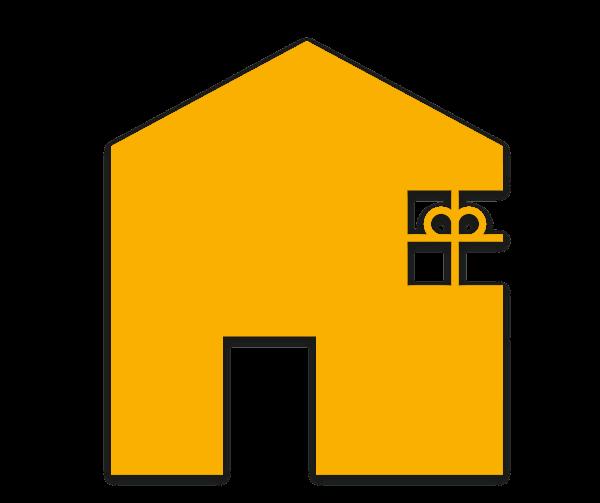 gelbes Haus mit Fenster