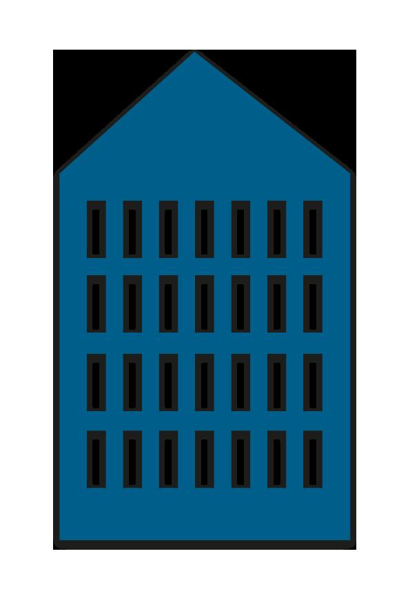 Hochhaus in blau