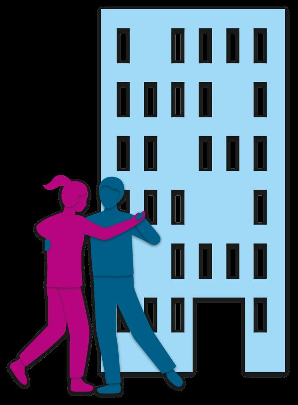 Hochhaus und tanzende Personen